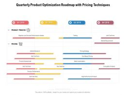 Quarterly Product Optimization Roadmap With Pricing Techniques
