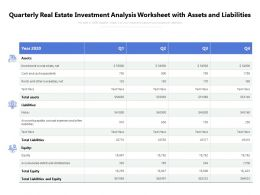 Quarterly Real Estate Investment Analysis Worksheet With Assets And Liabilities
