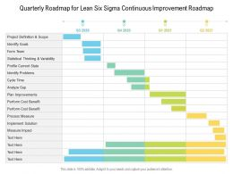 Quarterly Roadmap For Lean Six Sigma Continuous Improvement Roadmap