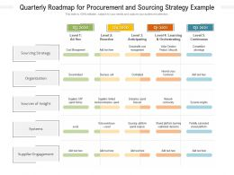 Quarterly Roadmap For Procurement And Sourcing Strategy Example