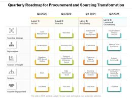 Quarterly Roadmap For Procurement And Sourcing Transformation