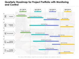 Quarterly Roadmap For Project Portfolio With Monitoring And Control