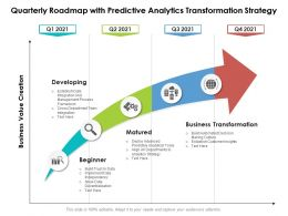 Quarterly Roadmap With Predictive Analytics Transformation Strategy