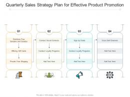 Quarterly Sales Strategy Plan For Effective Product Promotion