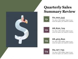 Quarterly Sales Summary Review Ppt Examples Slides
