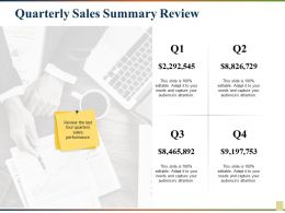 Quarterly Sales Summary Review Ppt Gallery Information