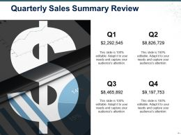 Quarterly Sales Summary Review Ppt Icon