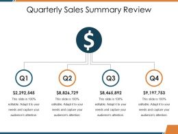 Quarterly Sales Summary Review Ppt Visual Aids Infographics