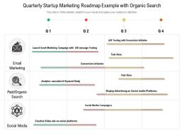 Quarterly Startup Marketing Roadmap Example With Organic Search