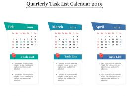 Quarterly Task List Calendar 2019