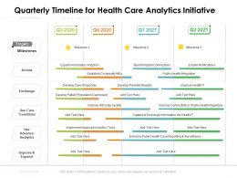 Quarterly Timeline For Health Care Analytics Initiative