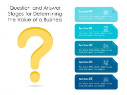Question And Answer Stages For Determining The Value Of A Business Infographic Template