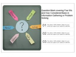 Question Mark Covering Five Ws And How Considered Basic In Information Gathering Or Problem Solving