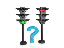 Question Mark In Between The Traffic Lights Stock Photo