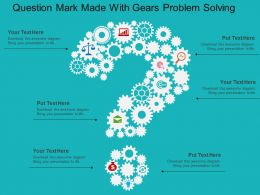 Question Mark Made With Gears Problem Solving Flat Powerpoint Design