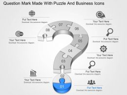 Question Mark Made With Puzzle And Business Icons Powerpoint Template Slide