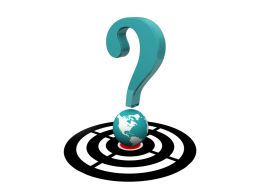 Question Mark On Target Dartboard With Globe Showing Global Questions Stock Photo