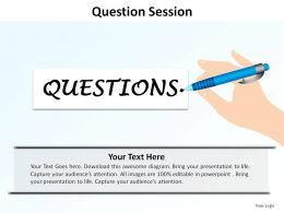question written by hand holding pen session ppt slides presentation diagrams templates powerpoint info graphics