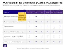 Questionnaire For Determining Customer Engagement Ppt Powerpoint Vector