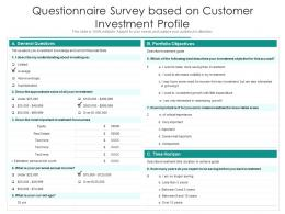 Questionnaire Survey Based On Customer Investment Profile