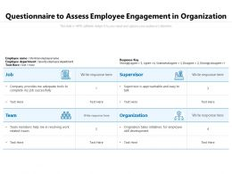 Questionnaire To Assess Employee Engagement In Organization