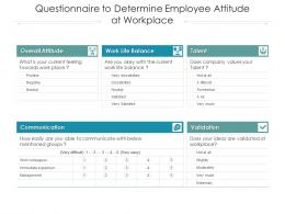 Questionnaire To Determine Employee Attitude At Workplace