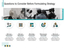 Questions To Consider Before Formulating Strategy Adapt Ppt Powerpoint Presentation File Aids