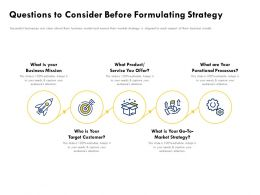 Questions To Consider Before Formulating Strategy Business Mission Ppt Powerpoint Presentation File Ideas
