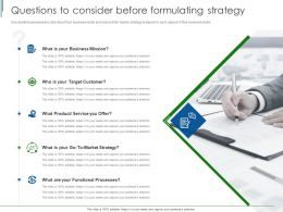Questions To Consider Before Formulating Strategy Ppt Powerpoint Presentation Styles