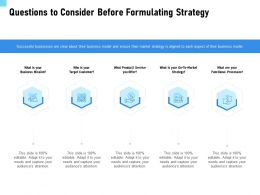 Questions To Consider Before Formulating Strategy Target Ppt Powerpoint Presentation Idea