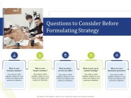 Questions To Consider Before Formulating Strategy Team Ppt Icons