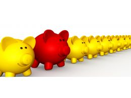 Queue Of piggies With One Red Piggy Coming Out From Line As Leader Stock Photo