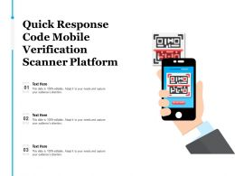 Quick Response Code Mobile Verification Scanner Platform