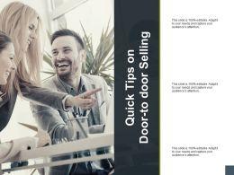 Quick Tips On Door To Door Selling Planning A190 Ppt Powerpoint Presentation Model Example