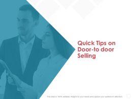 Quick Tips On Door To Door Selling Teamwork Ppt Powerpoint Presentation Gallery Diagrams