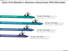 Quick Wins Benefits In Business Using Arrows With Silhouettes