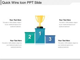Quick Wins Icon Ppt Slide