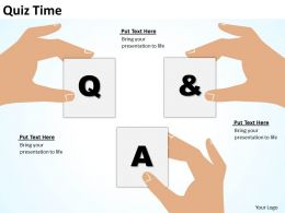 quiz time shown by hands silhouette holding QandA text boxes powerpoint templates 0712