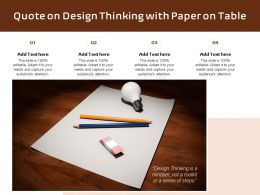 Quote On Design Thinking With Paper On Table