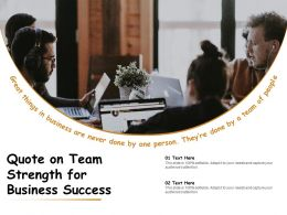 Quote On Team Strength For Business Success