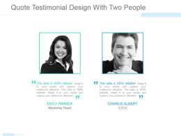 Quote Testimonial Design With Two People Ppt Images