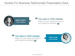 Quotes For Business Testimonials Presentation Deck