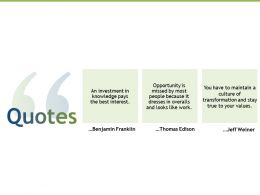 Quotes Investment Knowledge K176 Ppt Powerpoint Presentation Samples