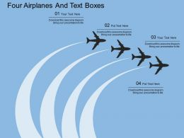 Qv Four Airplanes And Text Boxes Flat Powerpoint Design