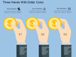 Qv Three Hands With Dollar Coins Flat Powerpoint Design