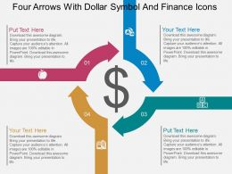Qw Four Arrows With Dollar Symbol And Finance Icons Flat Powerpoint Design