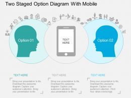Qy Two Staged Option Diagram With Mobile Flat Powerpoint Design