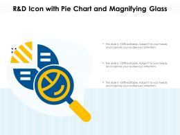 R And D Icon With Pie Chart And Magnifying Glass