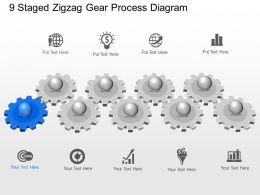 Ra 9 Staged Zigzag Gear Process Diagram Powerpoint Template