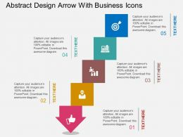 ra Abstract Design Arrow With Business Icons Flat Powerpoint Design